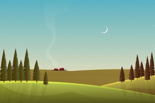 Paesaggio bellissima campagna con montagna e cielo