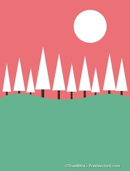 Paesaggio comico con alberi di natale biglietto di auguri