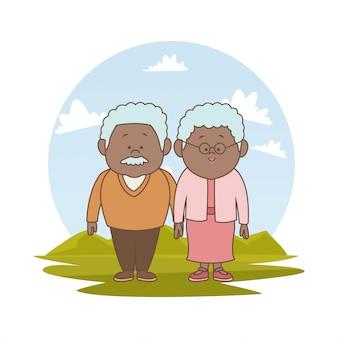 Paesaggio con coppia di anziani brunetta
