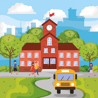 Paesaggio con edificio scolastico e studenti