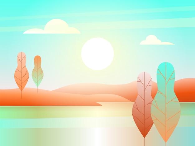 Paesaggio con fiume in stile piatto