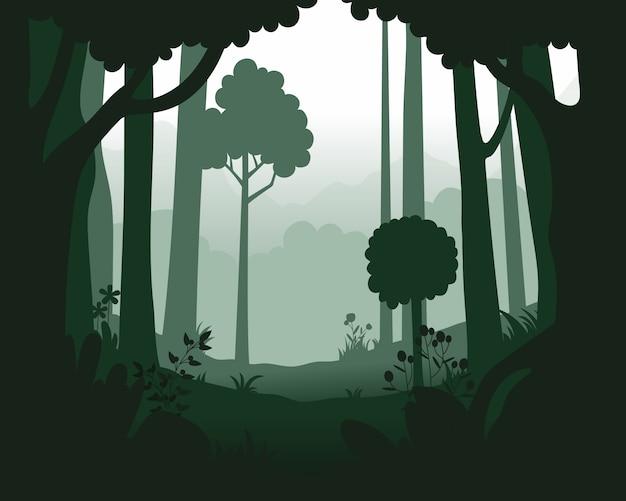 Paesaggio con foresta nebbiosa profonda.