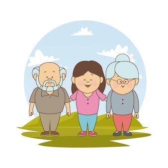 Paesaggio con i nonni e la ragazza