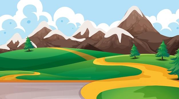 Paesaggio con montagne e cielo sereno illustrazione