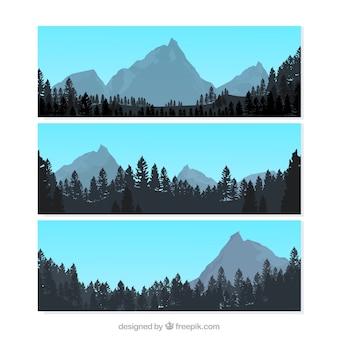 Paesaggio con montagne striscioni