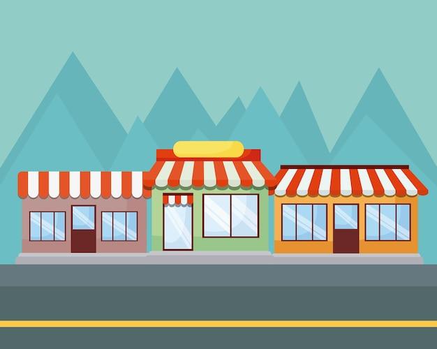 Paesaggio con negozi e montagne
