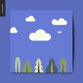 Paesaggio con nuvole sullo sfondo e le piante in primo piano