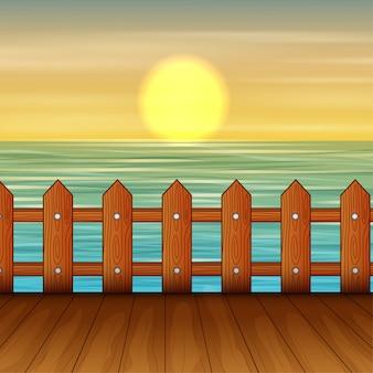 Paesaggio con porto marittimo al momento del tramonto