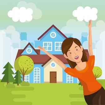 Paesaggio con scena di casa e donna