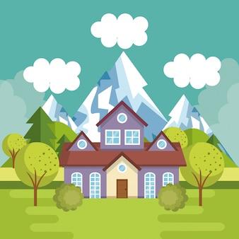 Paesaggio con scena di casa