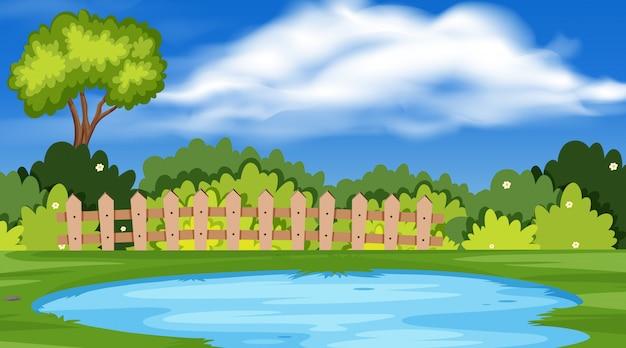 Paesaggio con stagno nel parco