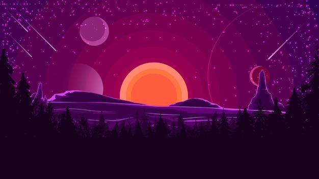 Paesaggio con tramonto dietro le montagne