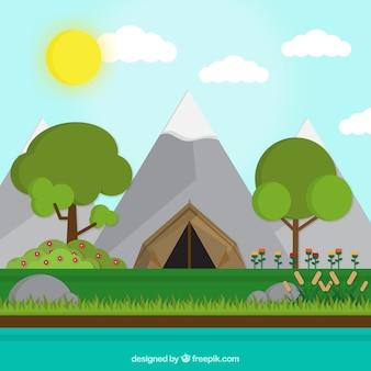 Paesaggio con una tenda