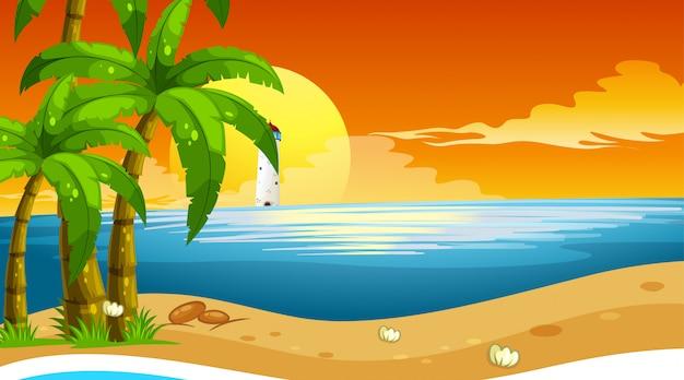Paesaggio costiero dell'oceano vuoto della spiaggia della natura