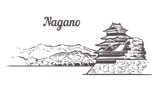 Paesaggio del castello di nagano, giappone