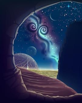 Paesaggio del cielo notturno di fantasia dalla vista della grotta sullo spazio serale con via lattea, stelle e pianeti