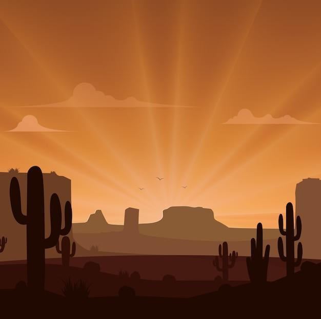 Paesaggio del deserto con cactus sullo sfondo tramonto