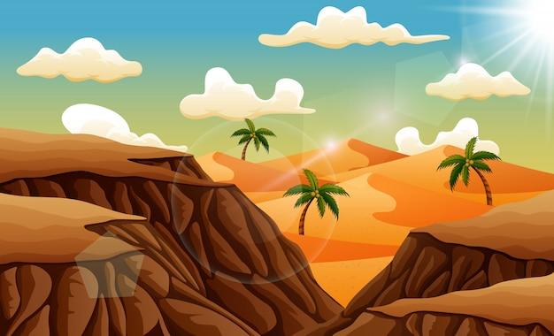 Paesaggio del deserto di sabbia da sopra le rocce