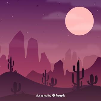 Paesaggio del deserto rosa con la luna