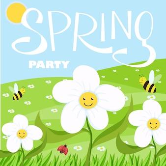 Paesaggio del fumetto del partito di primavera con alberi e nuvole