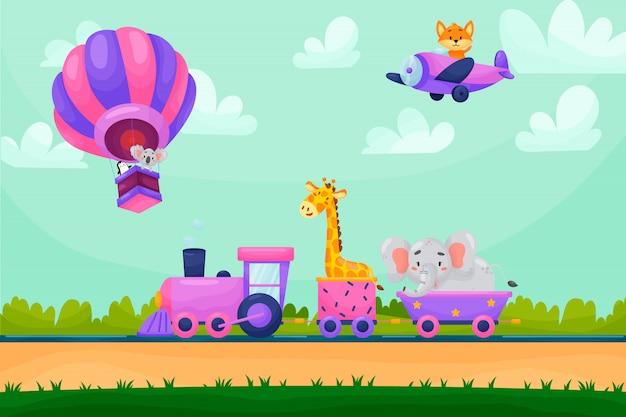 Paesaggio del fumetto di estate con gli animali che guidano treno raiway. animali che volano in mongolfiera e aereo.