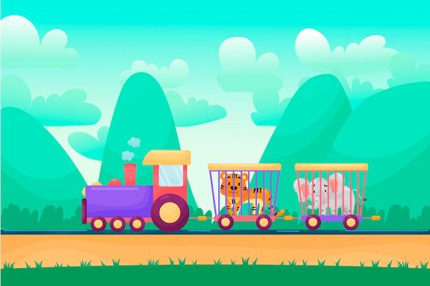 Paesaggio del fumetto di estate con gli animali che guidano treno raiway. trasporto di animali da circo.