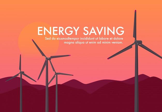 Paesaggio del generatore eolico di energia di potenza mentre tempo tramonto / tramonto. risparmio energetico sky