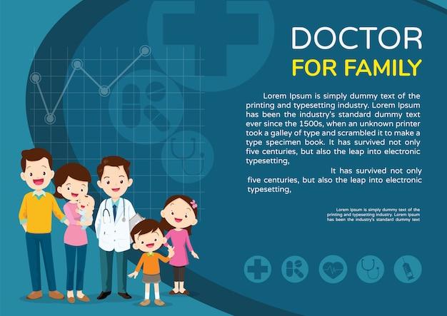 Paesaggio del manifesto del fondo della donna e dei bambini di medico