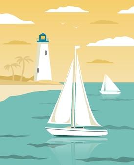 Paesaggio del mare con barche a vela e torre faro