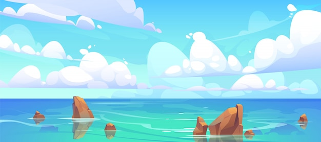Paesaggio del mare con pietre in acqua e nuvole