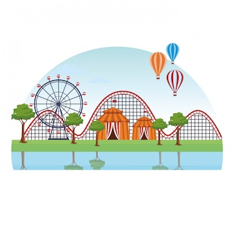 Paesaggio del parco di divertimenti