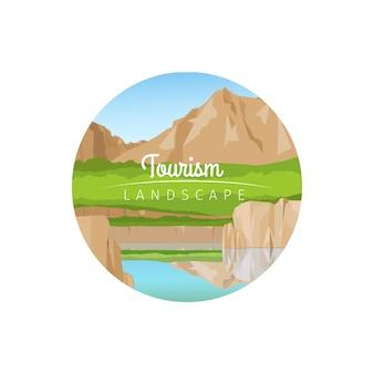 Paesaggio del turismo con l'icona del cerchio di montagne
