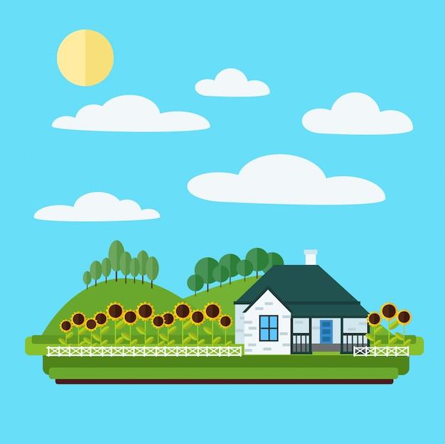 Paesaggio del villaggio con casa, alberi e girasoli