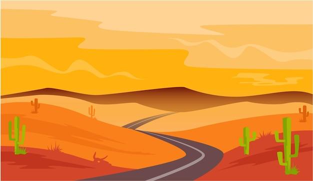 Paesaggio dell'arenaria del cactus della strada del deserto