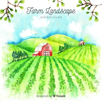 Paesaggio dell'azienda agricola nello stile dell'acquerello