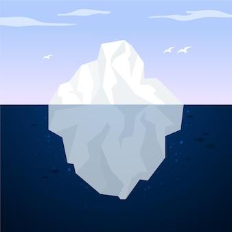 Paesaggio dell'iceberg nell'oceano