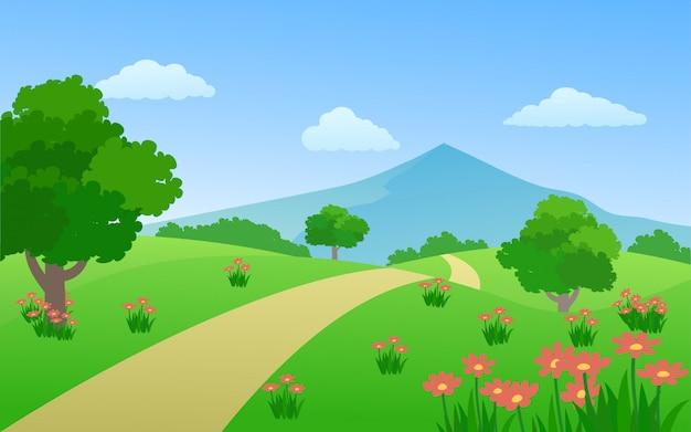 Paesaggio della campagna di vettore con la montagna e la via