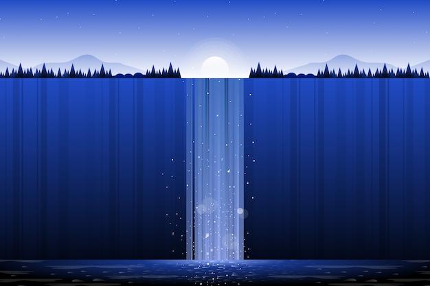 Paesaggio della cascata con l'illustrazione del pendio di collina e del cielo blu