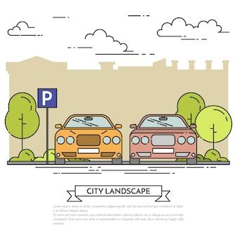 Paesaggio della città con auto moderne parcheggio vicino a via della città con alberi verdi.