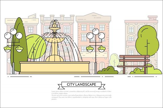 Paesaggio della città con panca, fontana nel parco pubblico.