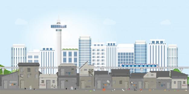 Paesaggio della città delle baraccopoli