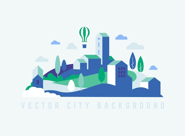 Paesaggio della città di eco con edifici, colline e alberi