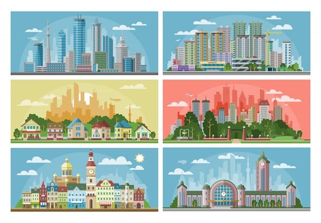Paesaggio della città di paesaggio urbano con l'edificio o la costruzione di architettura urbana e case nell'insieme dell'illustrazione delle vie della città della scena del centro con orizzonte e grattacielo
