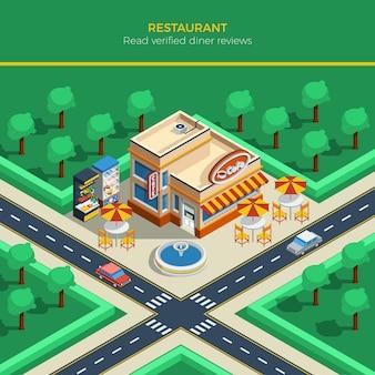 Paesaggio della città isometrica con la costruzione del ristorante