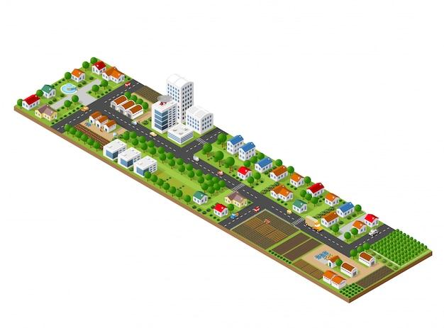 Paesaggio della città isometrica