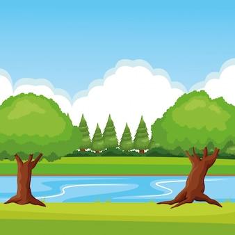 Paesaggio della foresta con fiume