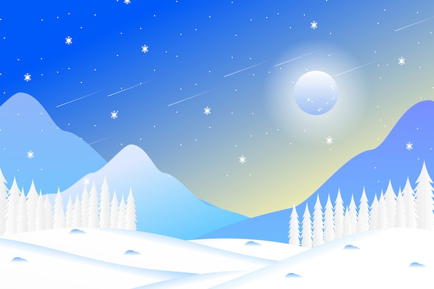 Paesaggio della foresta di inverno con le montagne e il cielo