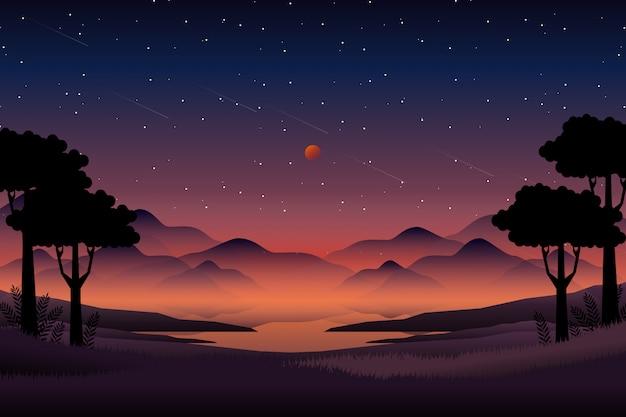 Paesaggio della foresta di notte con la montagna e il cielo stellato
