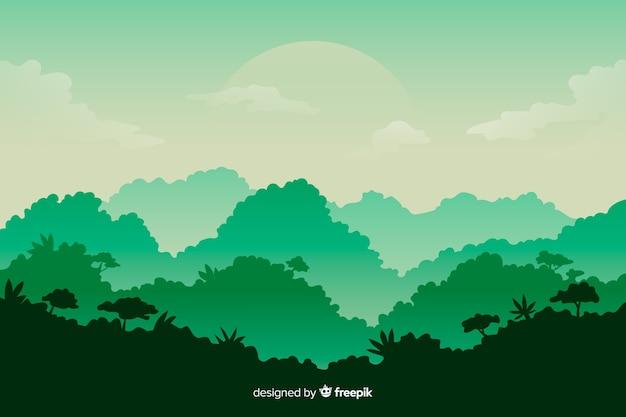 Paesaggio della foresta tropicale con alberi ad alto fusto