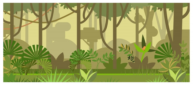 Paesaggio della giungla con l'illustrazione degli alberi e delle piante